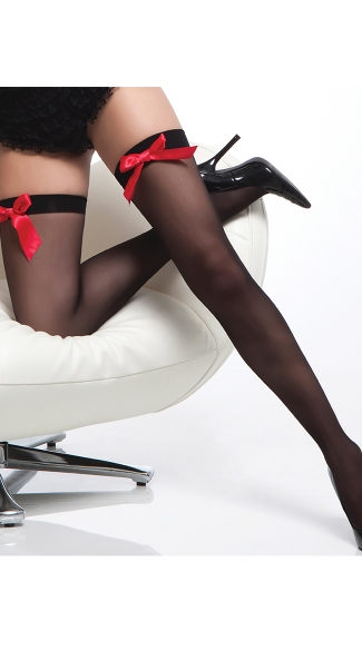 Sheer Stockings with Front Accent Bows