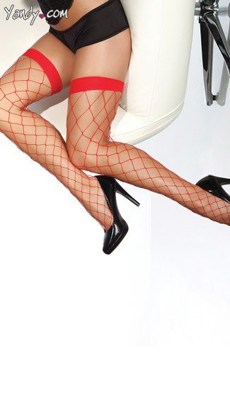 Fence Net Thigh Highs, Sexy Fence Pattern Thigh High Stocking, Sheer Stockings