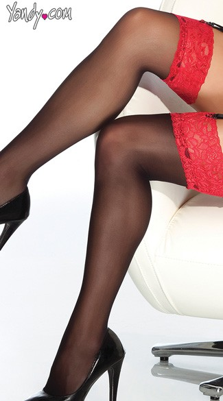 Red Lace Top Thigh High Stockings