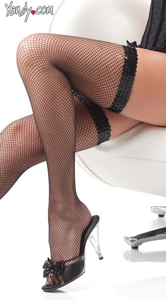 Sequin Band Fishnet Thigh Highs, Sheer Sequin Thigh High Stockings