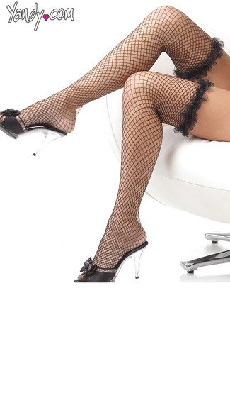 Fishnet Thigh High Stockings With Ruffle
