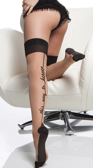 "Cuban Heel ""This Way To Heaven\"" Sheer Thigh Highs"