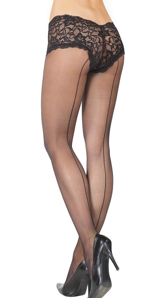 Sheer Seamed Pantyhose with Black Lace Boyshort