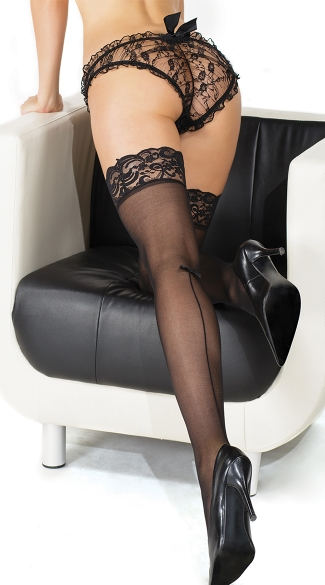 Plus Size Lacy Black Sheer Stockings with Knee High Back Seam