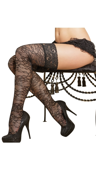 Plus Size Printed Thigh High Fishnet Stockings with Lace Toppers, Plus Size Thigh High Tights, Plus Size Patterned Tights
