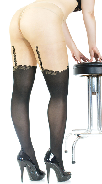 Plus Size Faux Thigh High and Garter Pantyhose