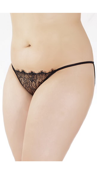 Plus Size Open Back Eyelash Lace Panty