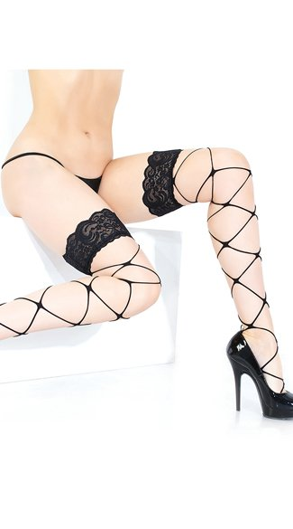 Diamond Net Thigh High Stockings