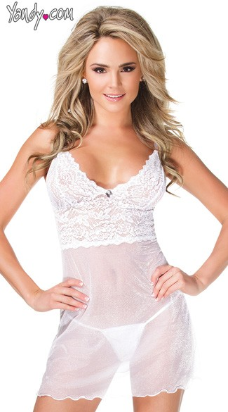 White Stretch Lace and Mesh Chemise, White Bridal Lingerie Dress, White Chemise