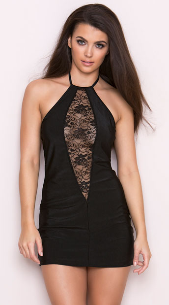 Halter Dress with Lace Cutout, Lycra Dress with Lace Front, Lycra ...