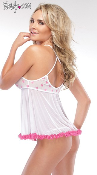 White Mesh Babydoll with Bow Print