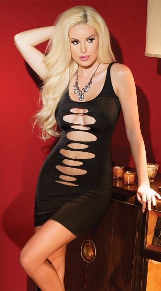 Black Slash Mini Dress