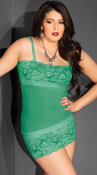 Plus Size Mesh and Lace Bust Chemise