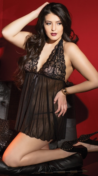 Plus Size Lace and Mesh Halter Babydoll