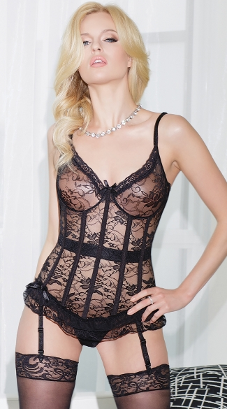 Sexy Stretch Lace Bustier