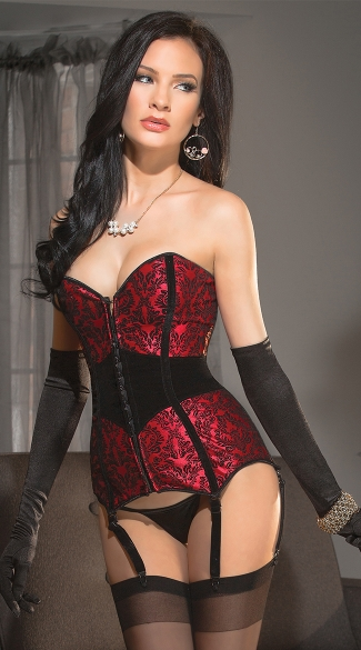 Red and Black Damask Print Corset