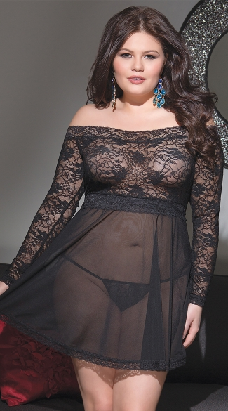 Plus Size Stretch Lace Babydoll