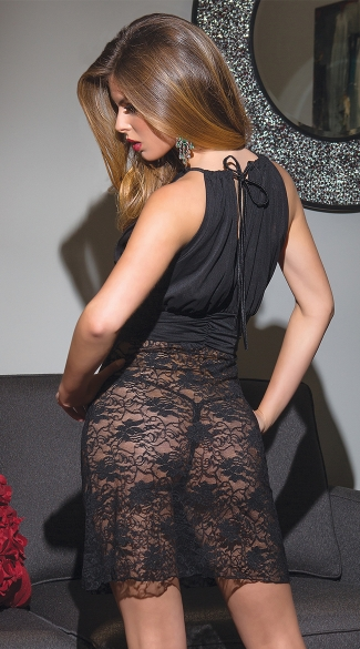 Stretch Lace and Mesh Black Chemise