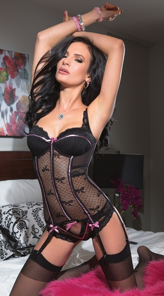 Black Bow Mesh Bustier