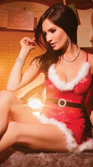 Red Lace Holiday Babydoll