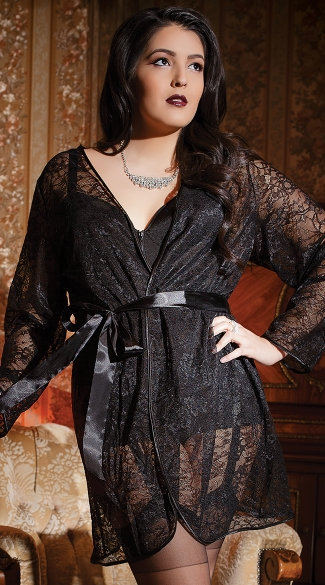 Plus Size Romantic Lace Robe, Lace Lingerie Robe