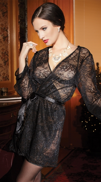 Romantic Lace Robe, Floral Lace Robe