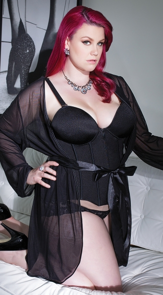 Plus Size Mesh Robe with Satin Trim