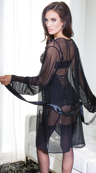 Mesh Robe with Satin Trim