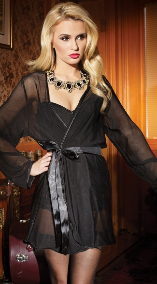 Mesh Robe with Satin Trim, Mesh and Satin Robe