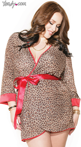 Plus Size Leopard Print Robe, Plus Size Red and Leopard Robe, Plus Size Animal Print Robe