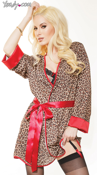 Luxurious Leopard Lingerie and Robe Set, Leopard Print Robe, Red and Leopard Robe, Animal Print Robe, Leopard and Lace Three Piece Lingerie Set, Leopard Bra Set, Black Lace Bra Set, Sheer Thigh High Stockings, Sexy Sheer Stockings, Coquette Thigh High Stockings
