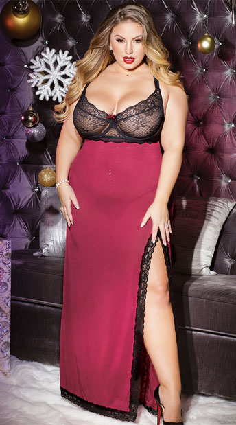 Plus Size How Merlot Can You Go Gown, Plus Size Lingerie Gown - Yandy.com