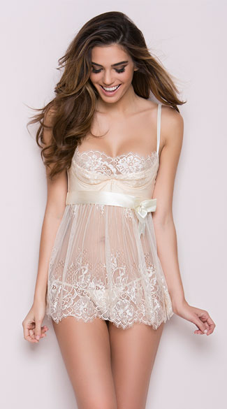 Ivory Elegance Babydoll and G String, Ivory Lace Babydoll