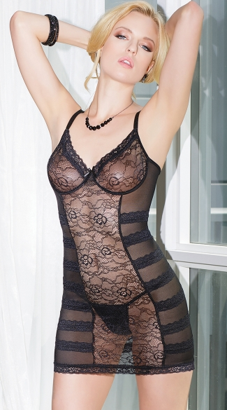 Black Lace Stretch Chemise