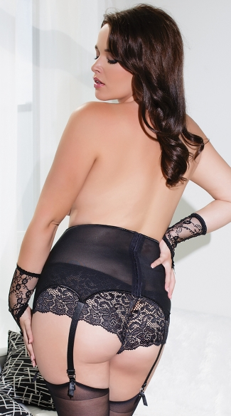 Plus Size Black Mesh and Lace Garter Belt