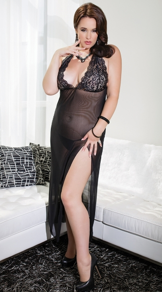 Plus Size Elegant Black Lace Cup Lingerie Gown, Plus Size Long Black Chemise