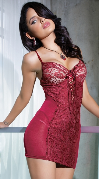 Burgundy Beauty Lace Front Chemise, Burgundy Lace and Mesh Chemise