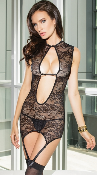 Totally Tempting Reversible Chemise, Reversible Black Lace Chemise