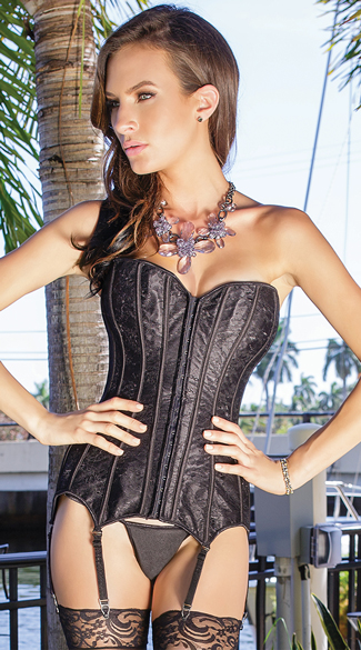 Luscious Black Lace Corset, Fully Boned Corset, Lace-Up Corset
