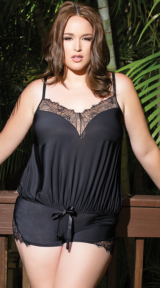 Plus Size Black Eyelash Lace Romper, Plus Size Loose Black Romper, Plus Size Black Lace Romper