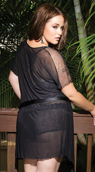 Plus Size Sheer Black Robe with Lace Accents