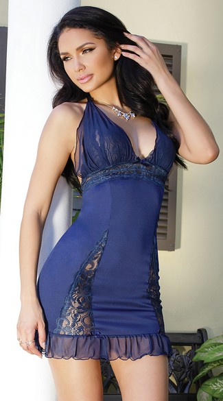 Peek-A-Boo Sheer Navy Chemise, Lace Chemise, Mesh and Lace Chemise