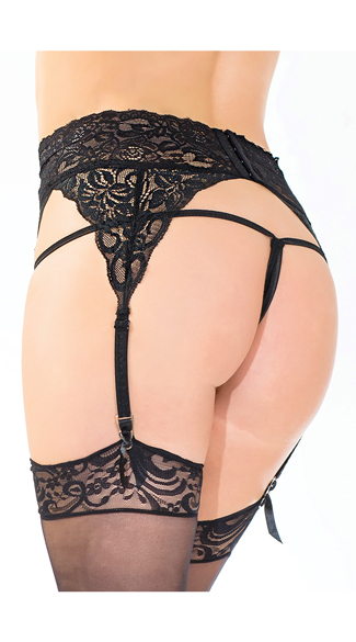 High Waisted Lace Garter Belt