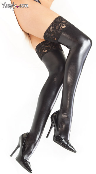 Plus Size Wet Look Thigh Highs with Lace Top, Plus Size Vinyl Stockings with Lace Top, Plus Size Black Vinyl Stockings