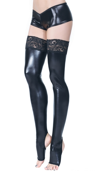 Wet Look Stockings with Lace, Lace Top Wetlook Stockings