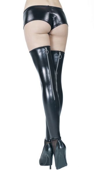 Black Wet Look Stockings with Mesh Feet
