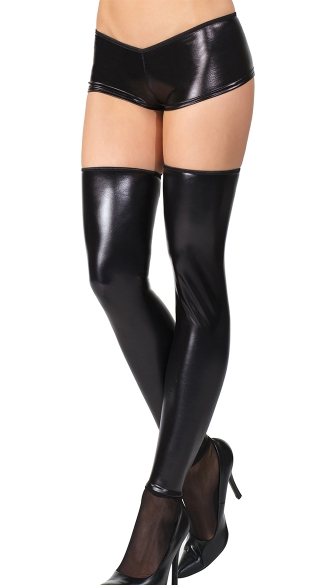 Plus Size Black Wet Look Stockings with Mesh Feet