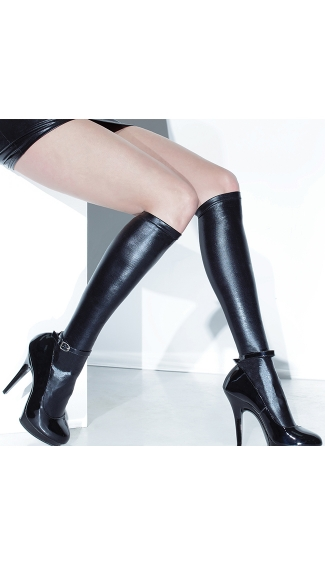 Wet Look Knee High Stockings, Wet Look Stockings, Wet Look Knee Highs