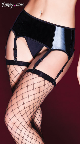 Wet Look Plus Size Garter Belt