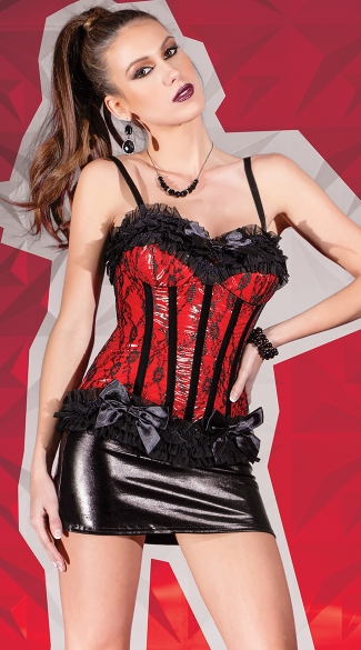 Red Wetlook Corset, Sexy Red Corset, Red Lingerie Corset